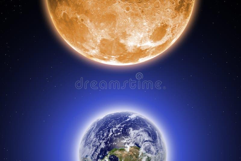 地球和月亮 库存例证
