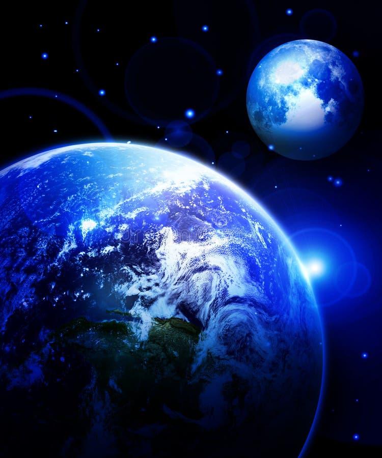 地球和月亮 向量例证