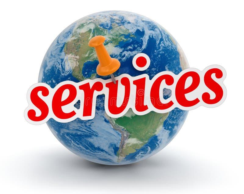 地球和服务(包括的裁减路线) 库存例证