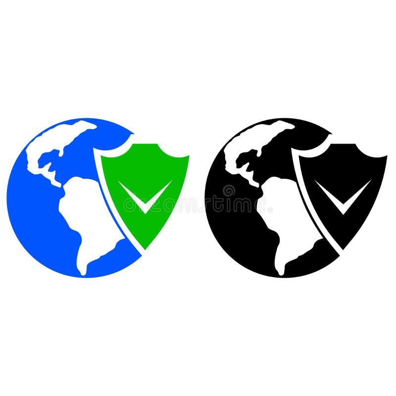 地球和盾象 库存例证