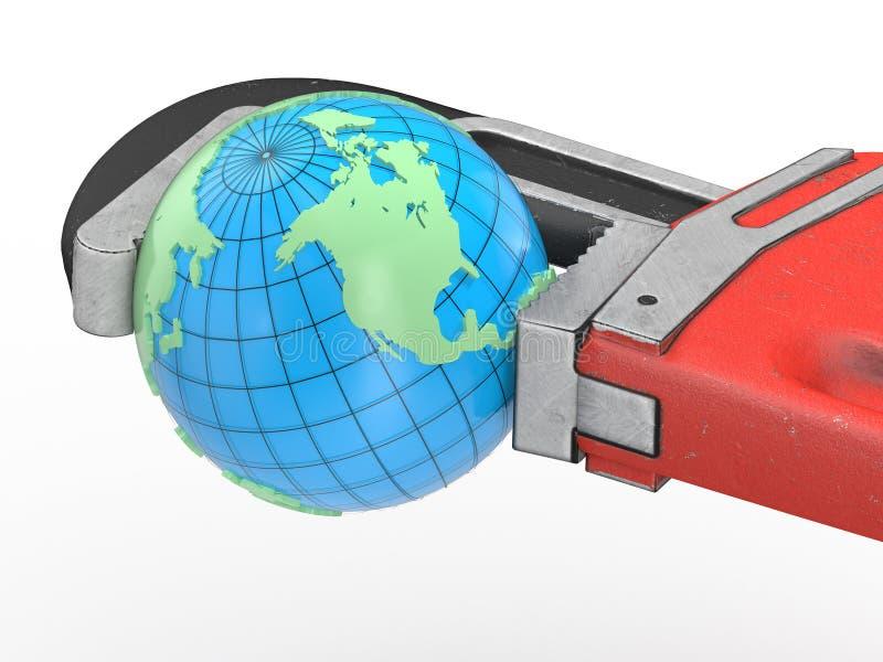 地球和红色板钳 库存例证