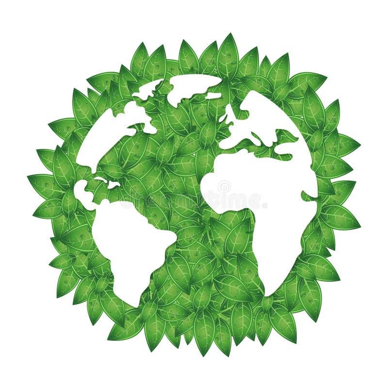 地球和绿色叶子剪影  皇族释放例证