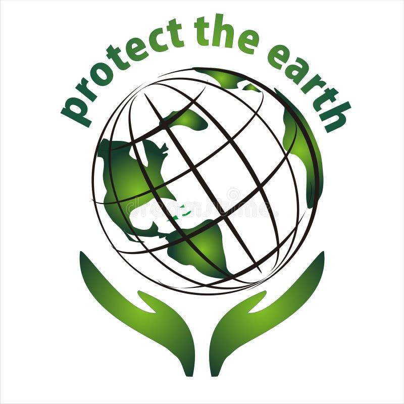 地球图标保护 库存例证