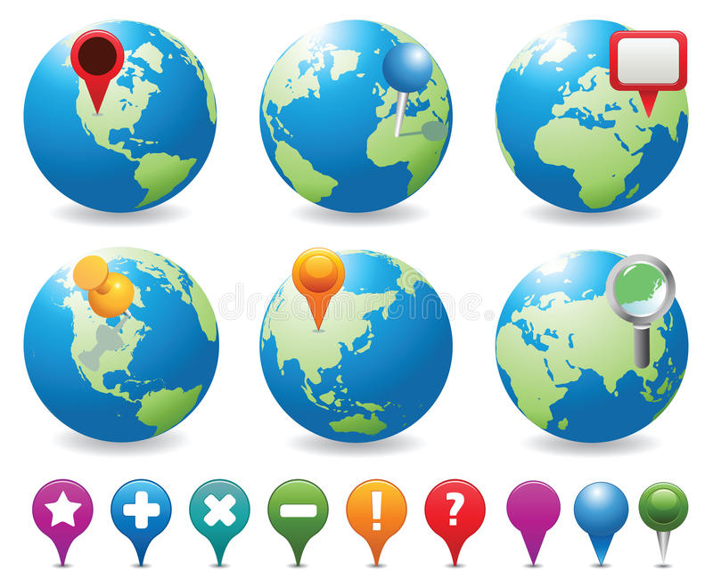 地球图标定位 向量例证