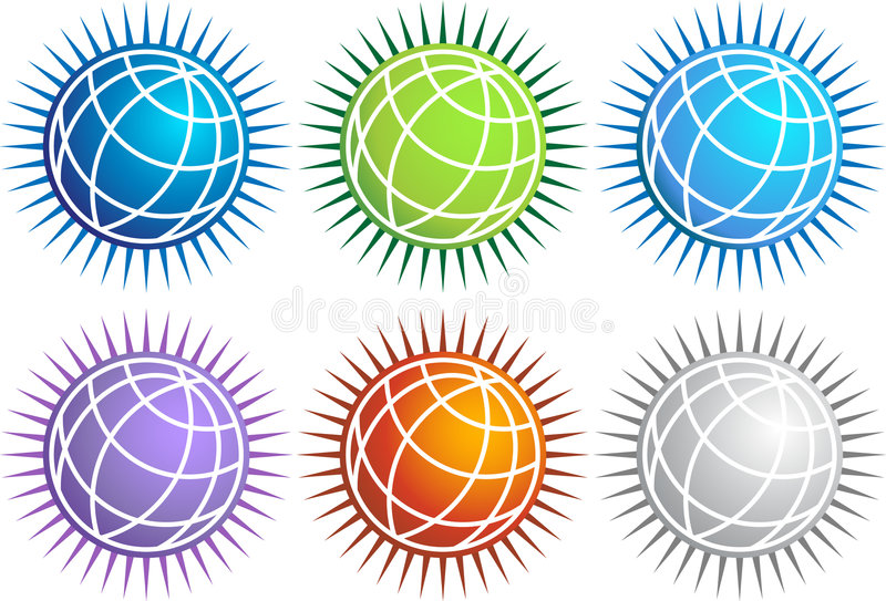 地球图标集合峰值 皇族释放例证