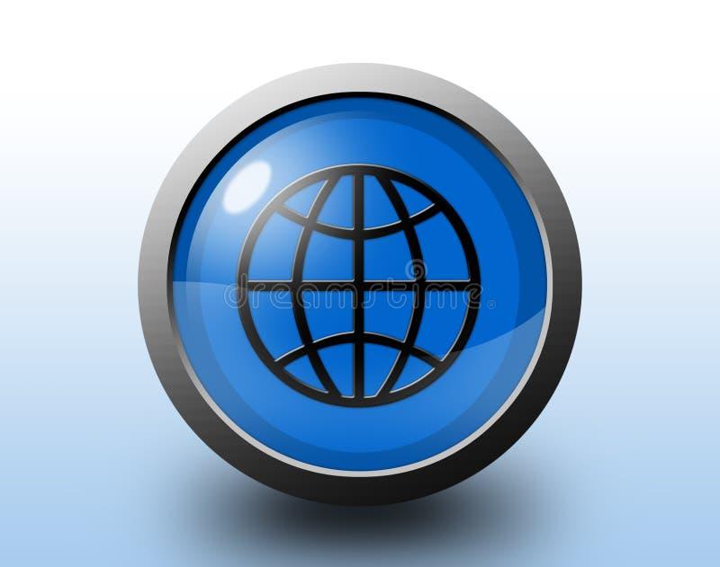地球图标 圆光滑的按钮 皇族释放例证