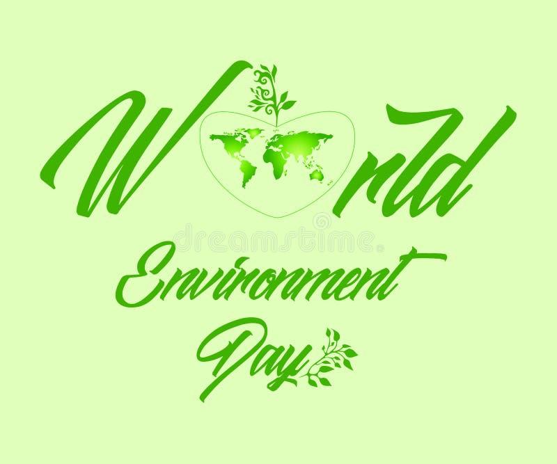 地球在一个绿色概述做的美好的心脏 库存例证