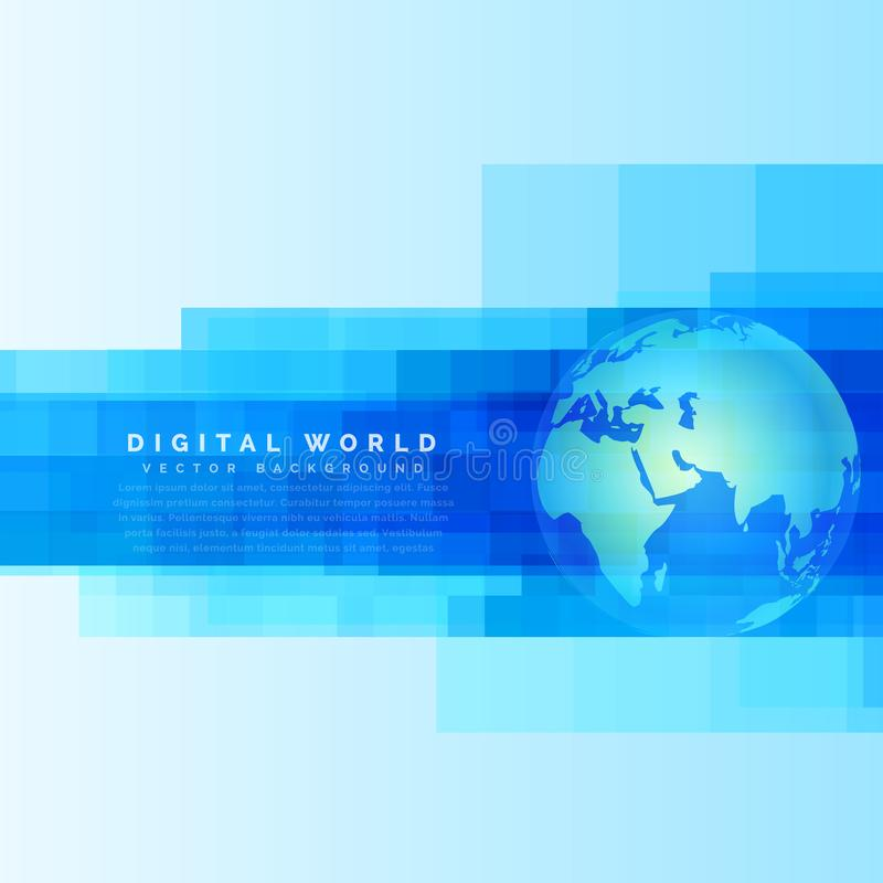 地球在抽象数字式蓝色背景的地球地图 皇族释放例证