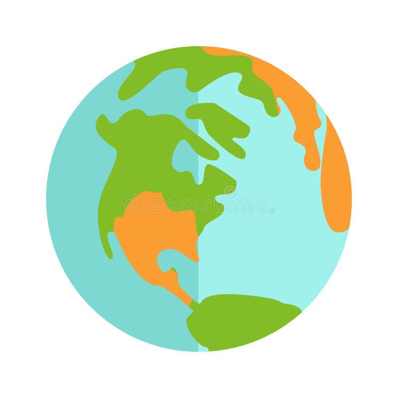 地球在白色背景隔绝的象标志 皇族释放例证