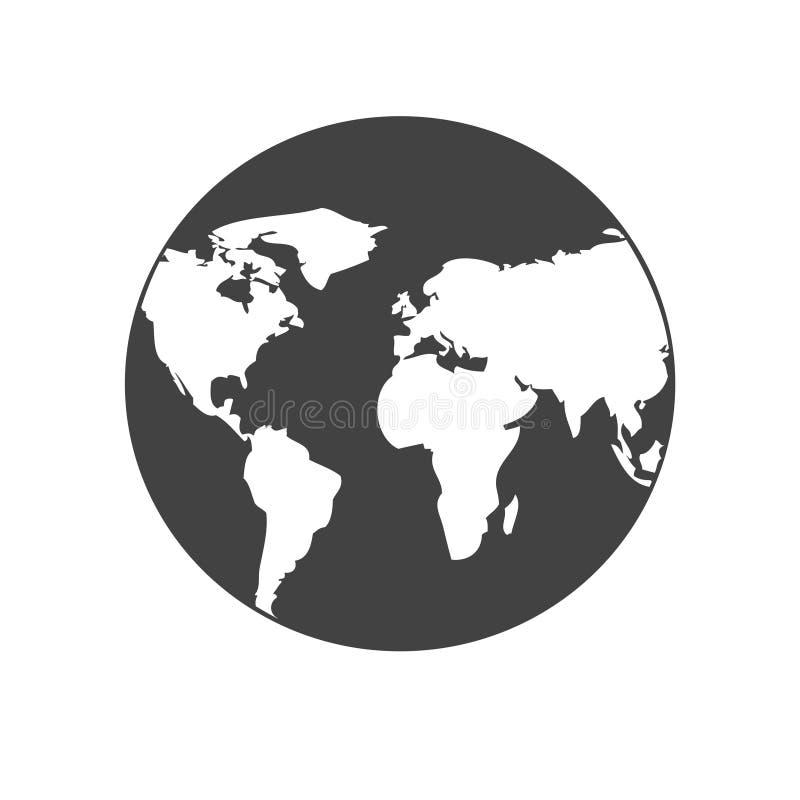 地球在黑白的网象 行星标志 平的设计 向量例证