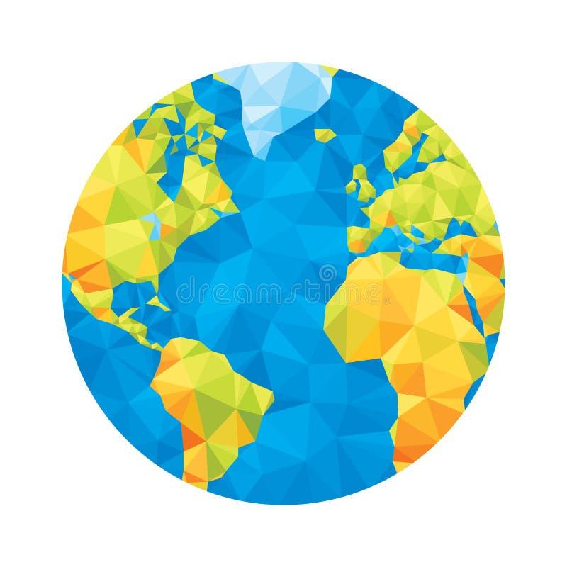 地球地图-抽象几何传染媒介例证 地球多角形例证 皇族释放例证