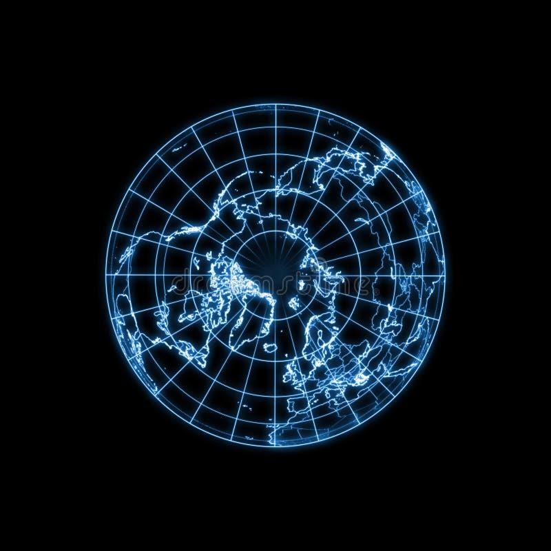 地球地球发光的轻的映射分级显示 向量例证