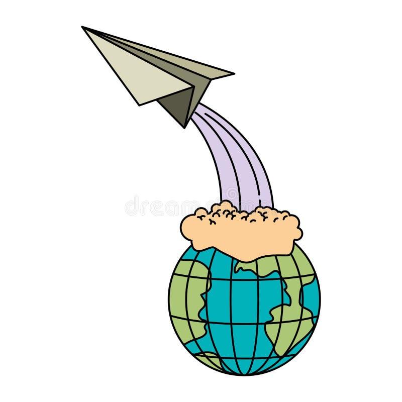 地球地球和纸平面飞行五颜六色的剪影  向量例证