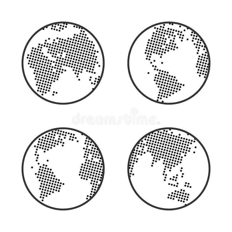 地球地球商标 加点的映射世界 象集合 向量例证
