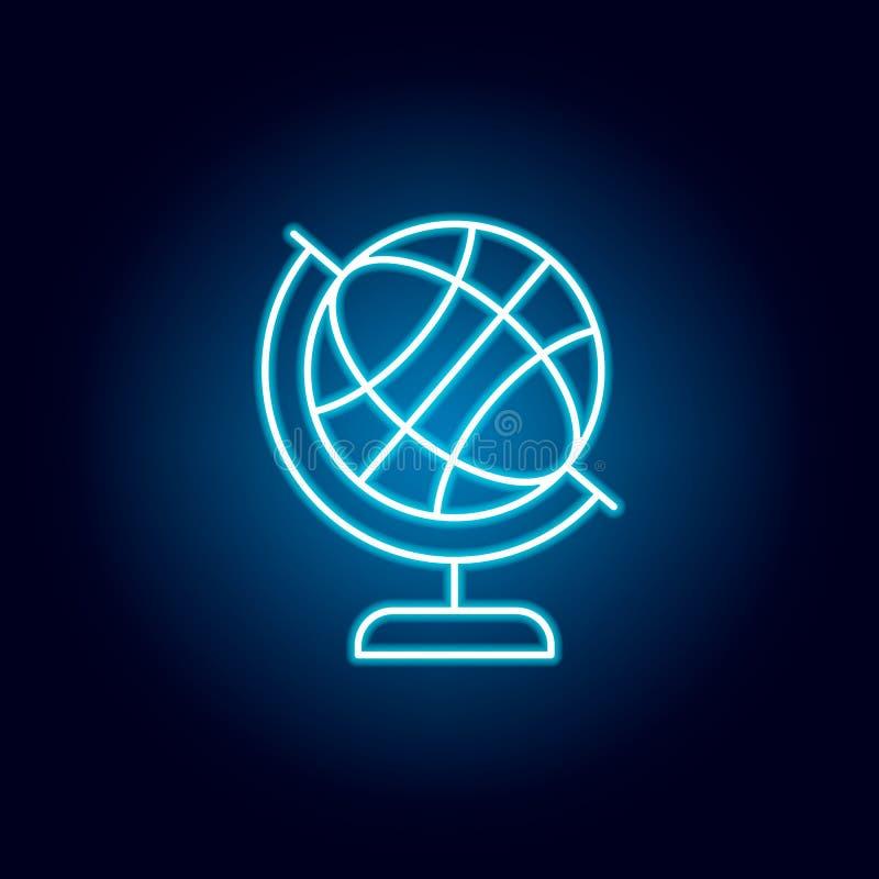 地球地球,地理在霓虹样式的概述象 教育例证线象的元素 标志,标志可以使用为 皇族释放例证