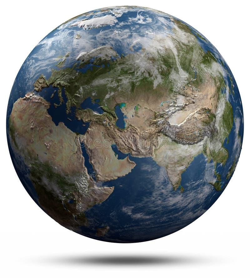 地球地球-欧亚大陆 库存例证