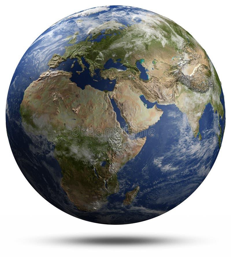地球地球-非洲、欧洲和亚洲 向量例证