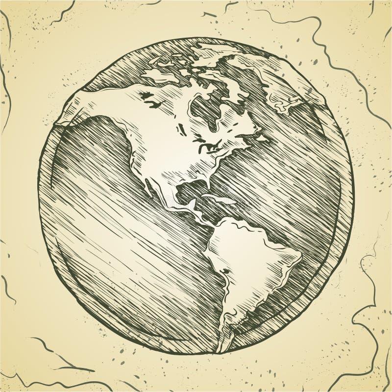 地球外形图 传染媒介乱画剪影 皇族释放例证