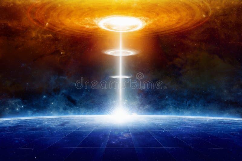 地球外的外籍人太空飞船击中在外层空间的蓝色行星 库存图片