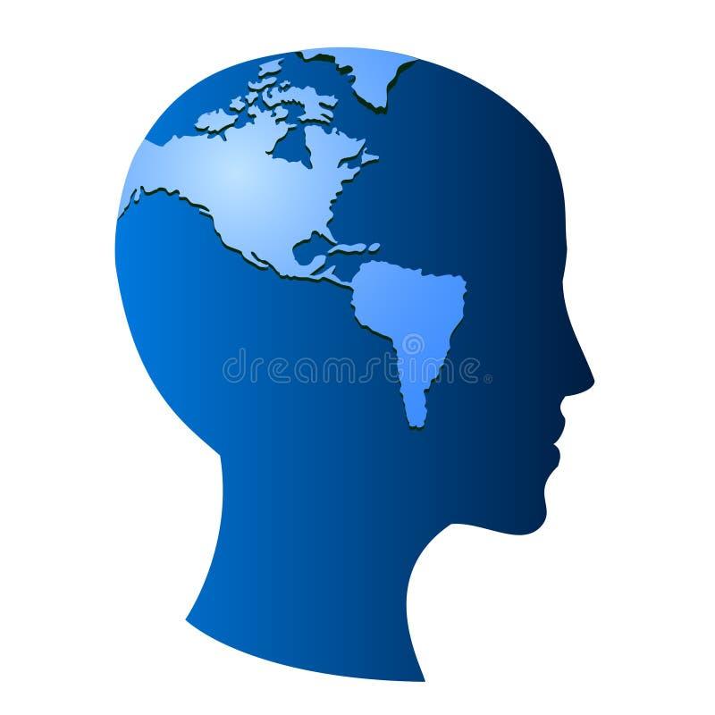 地球头脑符号向量 库存例证