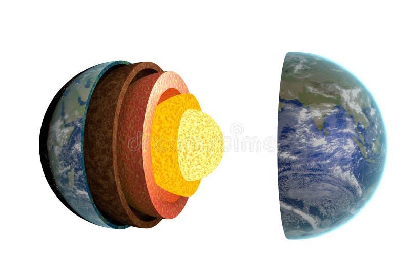 地球层数和结构 背景查出的白色 3d被回报的例证 向量例证