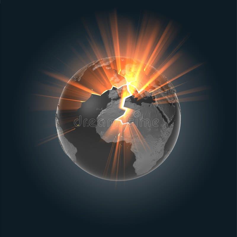 地球展开的金属 皇族释放例证