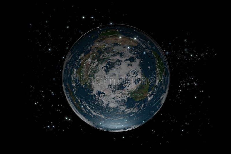 地球平面的里面stars4 库存例证