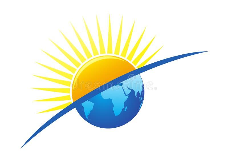 地球徽标星期日 皇族释放例证