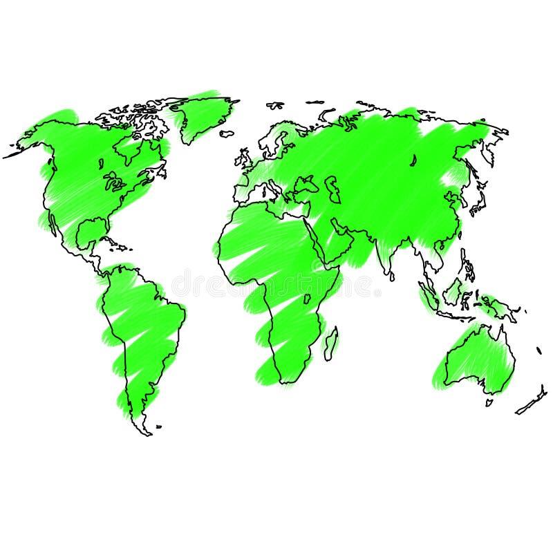地球手写的剪影 免版税库存照片