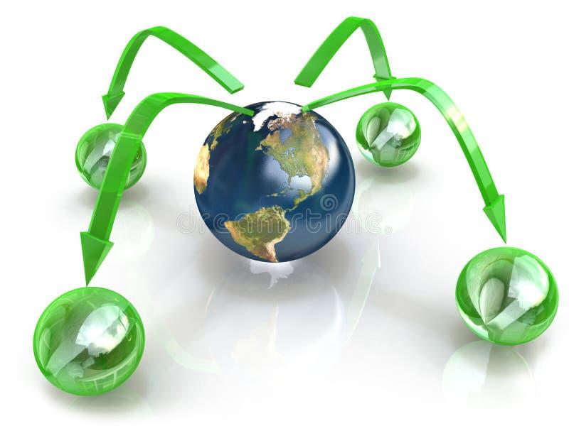 地球数字式连接,概念通信的和全球性 向量例证