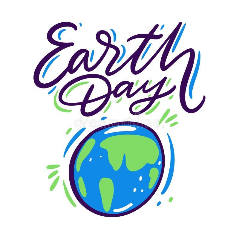 地球日和行星 手拉的传染媒介字法 背景查出的白色 向量例证