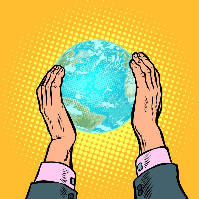 地球日生态自然保护行星人类房子 皇族释放例证