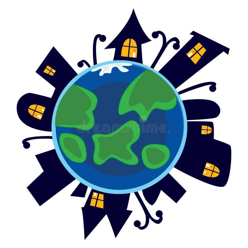 地球日,行星在与城市房子的晚上睡觉有光亮黄色窗口、生态世界概念、绿色和蓝色的 向量例证