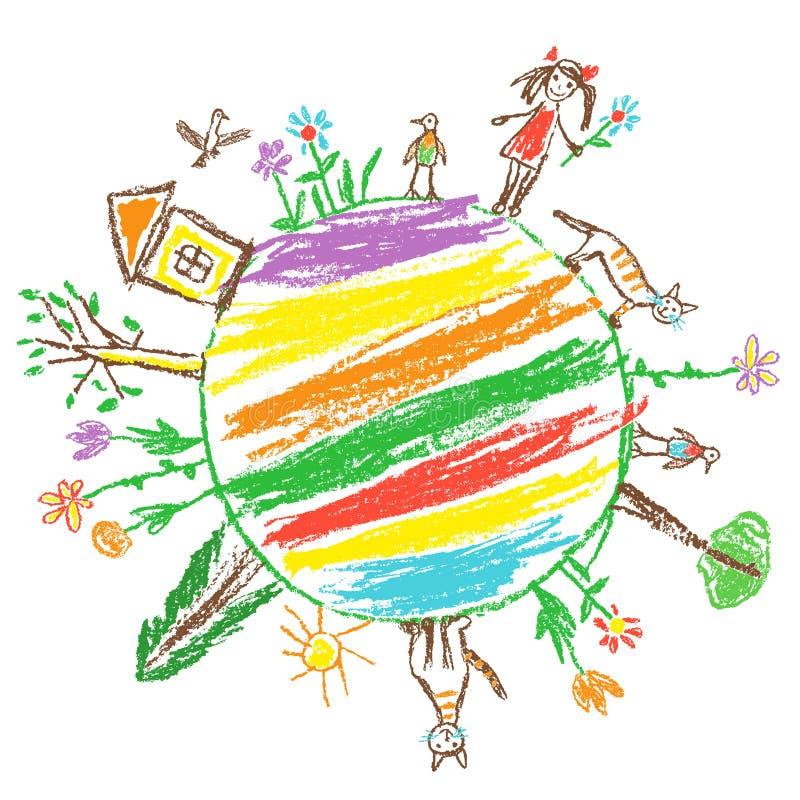地球日eco友好的概念 象儿童的手拉的乱画五颜六色的传染媒介艺术 世界生态地球行星 本质保存 皇族释放例证