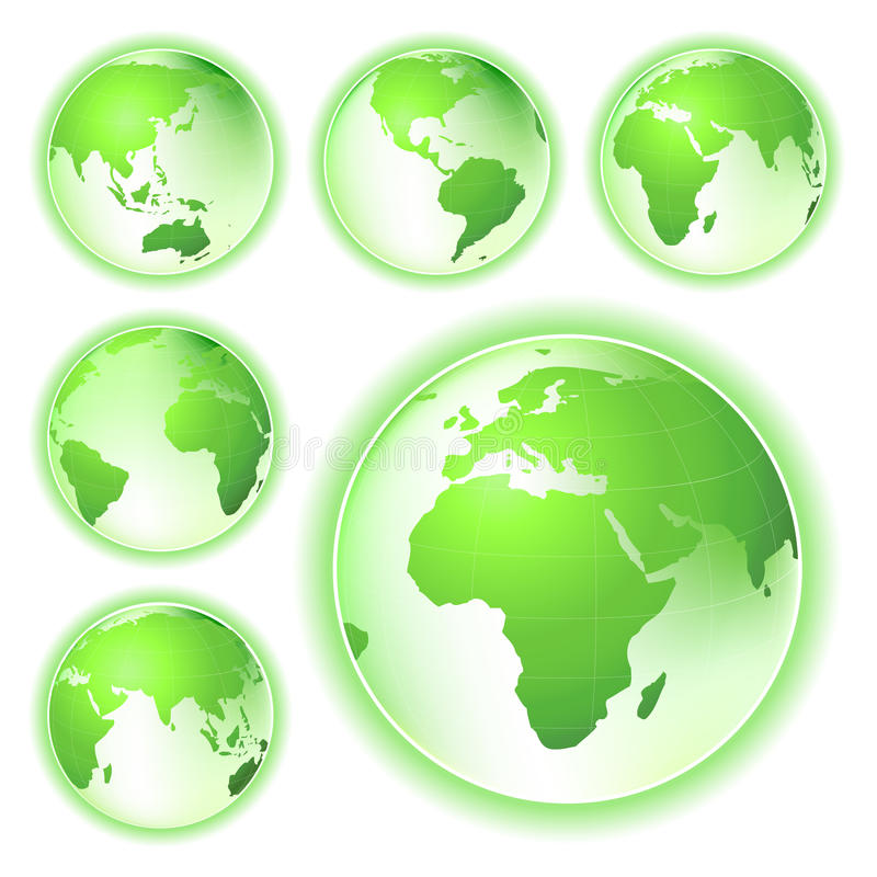 地球是绿色映射行星 向量例证