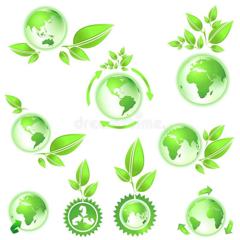 地球是绿色映射行星 库存例证