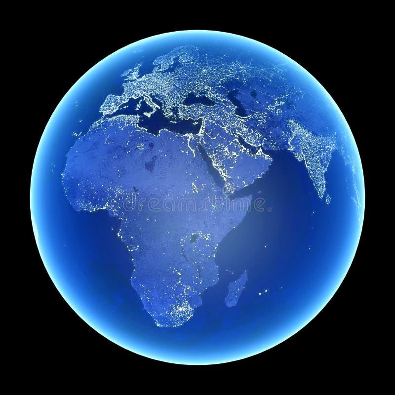 地球晚上 库存例证