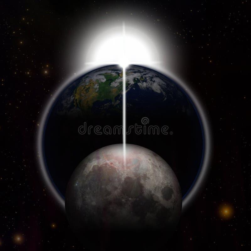 地球月亮行星星 向量例证