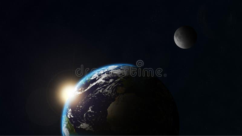 地球月亮 库存例证
