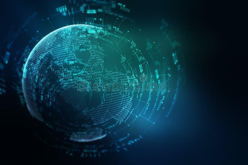 地球未来派技术摘要背景 向量例证