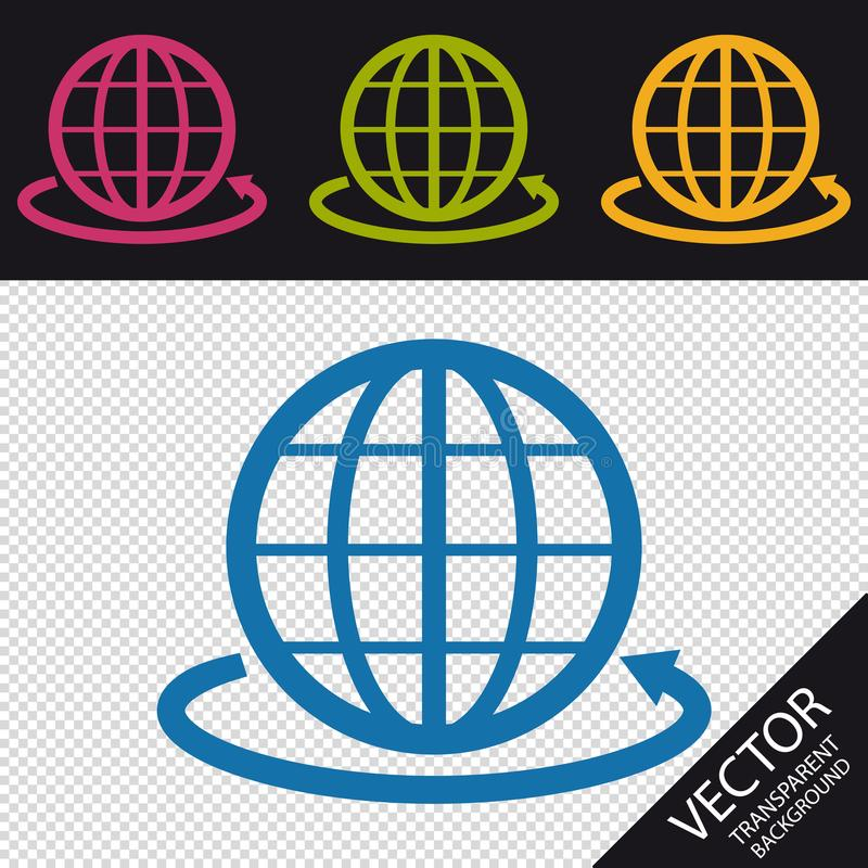 地球标志和环绕在透明背景-传染媒介例证-隔绝的世界箭头 库存例证