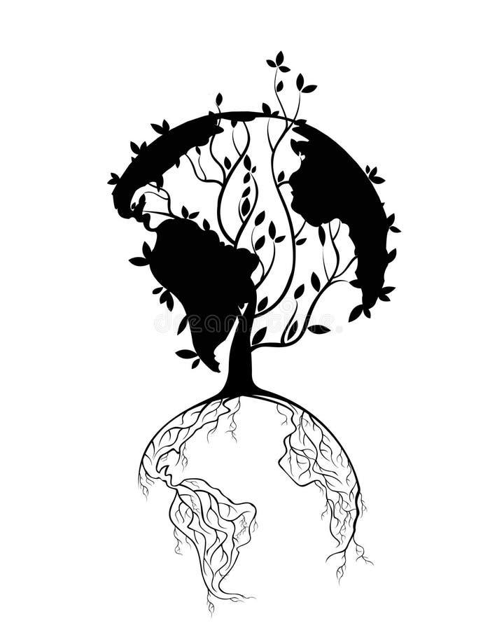 地球概念树根也许使用作为背景