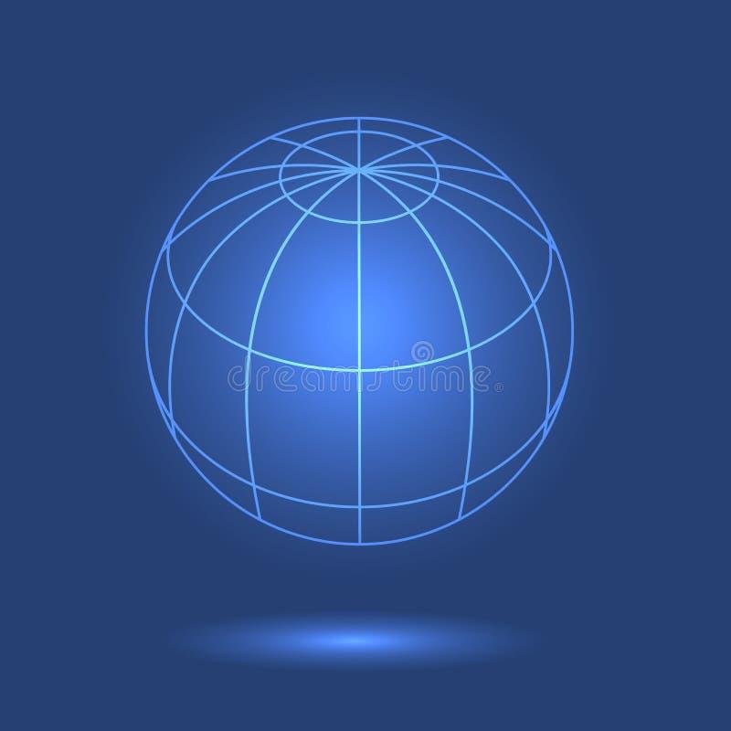 地球模型在蓝色背景的 库存例证