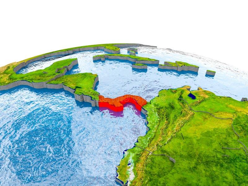 地球模型的巴拿马  库存图片