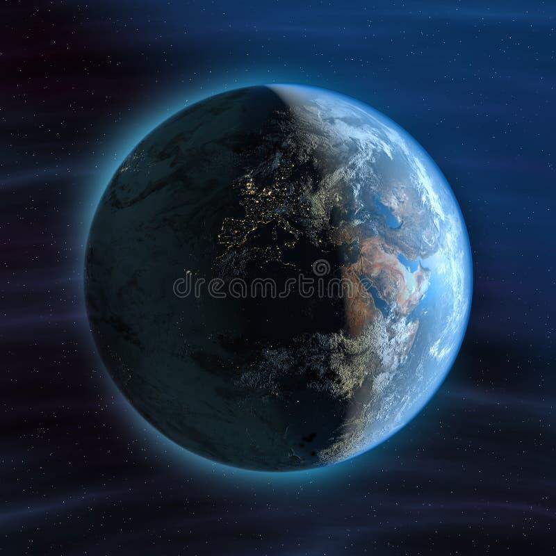 地球欧洲晚上视图 库存例证