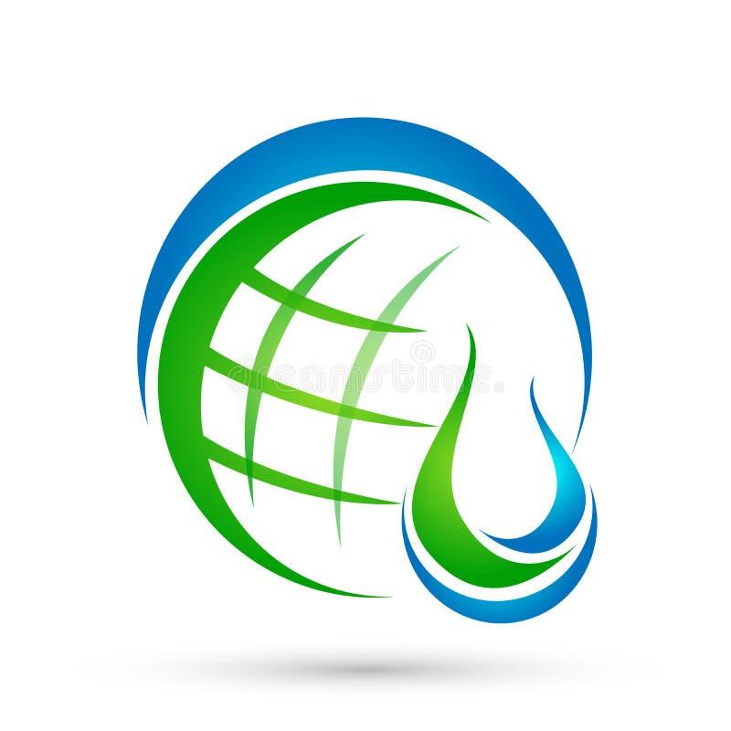地球水下落水下落的商标概念与世界救球地球健康标志象自然的下降元素传染媒介设计 皇族释放例证