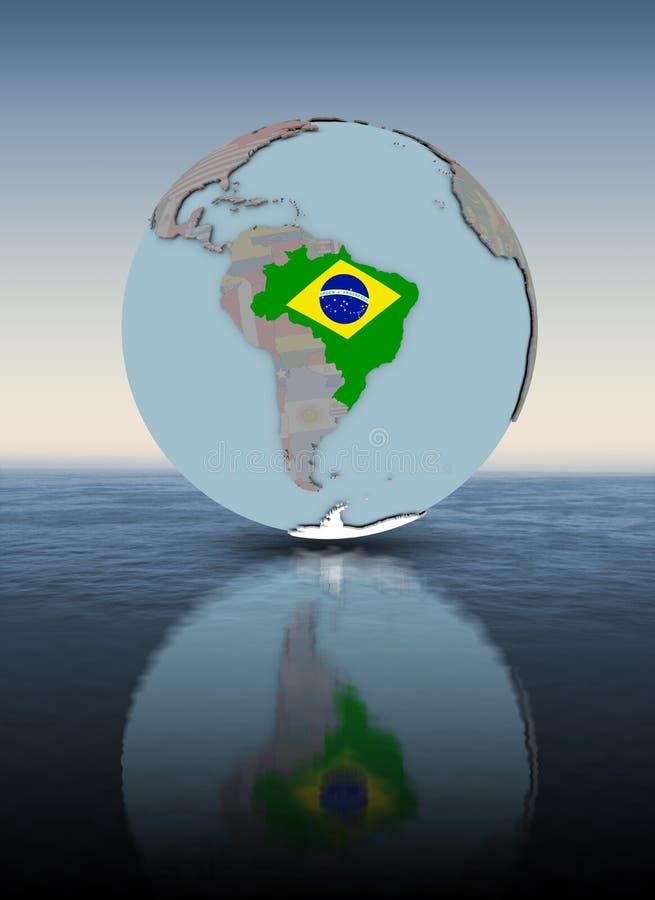 地球水面上的表面上的巴西 皇族释放例证