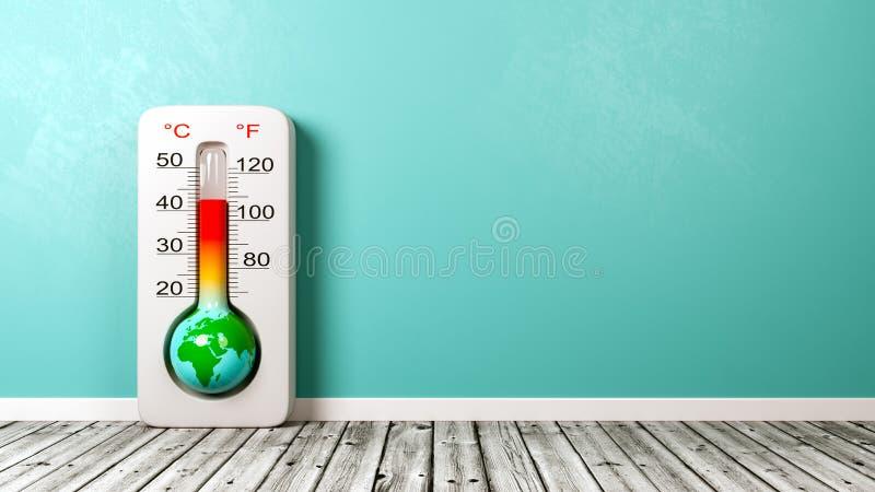地球温度计全球性变暖概念 向量例证