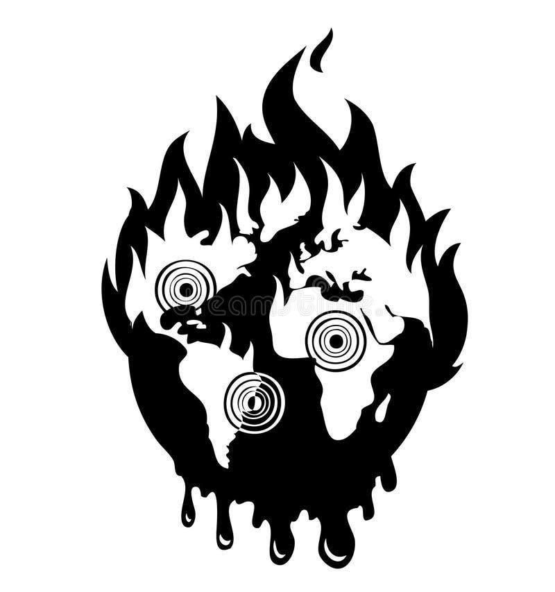 地球灾害浩劫商标 免版税库存照片
