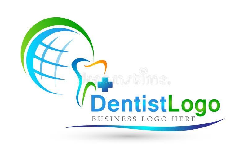 地球牙齿诊所牙医发怒人民关心在白色背景的医疗医疗保健商标设计象 库存例证